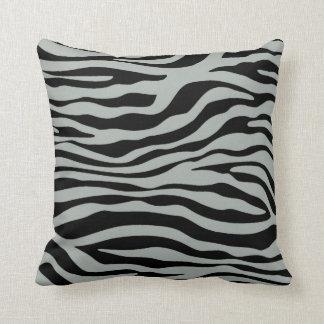 Ash Gray; Grey and Black Zebra Animal Print Throw Pillows