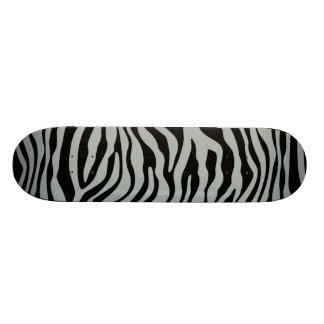 Ash Gray; Grey and Black Zebra Animal Print Skateboard Decks