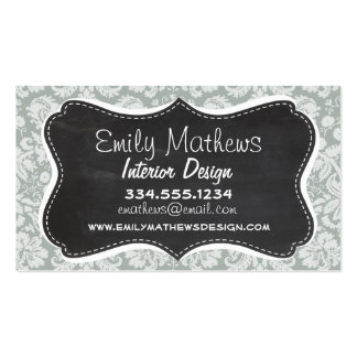Ash Gray; Grey Damask Pattern; Chalkboard look Double-Sided Standard Business Cards (Pack Of 100)