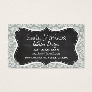 Ash Gray; Grey Damask Pattern; Chalkboard look Business Card
