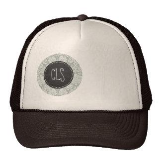 Ash Gray; Grey Damask Pattern; Chalkboard look Trucker Hat
