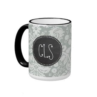 Ash Gray; Grey Damask Pattern; Chalkboard look Ringer Coffee Mug