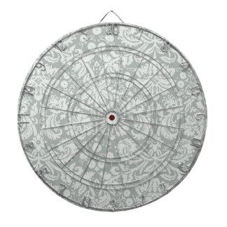 Ash Gray; Grey Damask Pattern Dartboard With Darts
