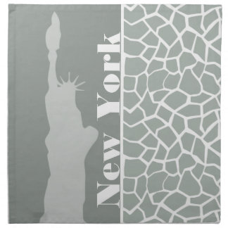 Ash Gray; Grey Giraffe Animal Print; New York Napkin