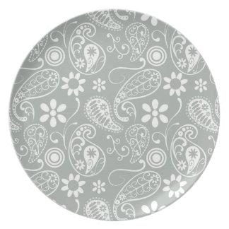 Ash Gray; Grey Paisley Plates