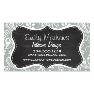 Ash Gray; Grey Paisley; Retro Chalkboard look Double-Sided Standard Business Cards (Pack Of 100)