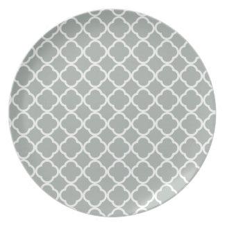Ash Gray; Grey Quatrefoil Plate