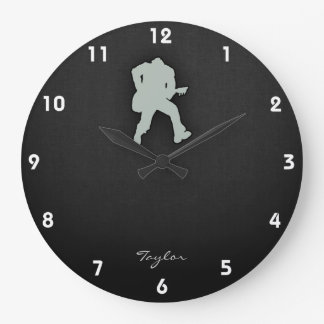 Ash Gray Guitar Player Large Clock