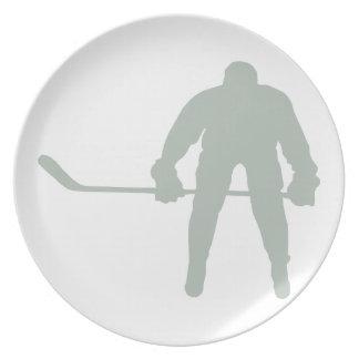Ash Gray Hockey Dinner Plates