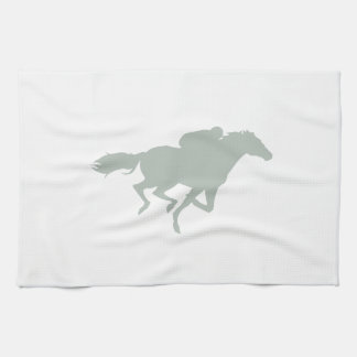 Ash Gray Horse Racing Kitchen Towel