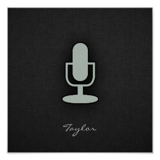 Ash Gray Microphone Poster