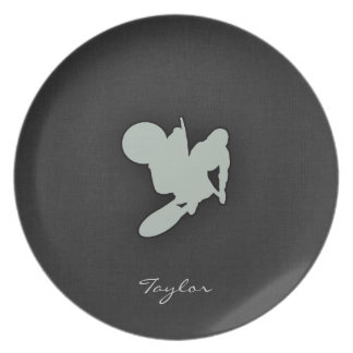 Ash Gray Motocross Party Plate