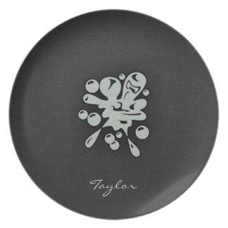 Ash Gray Paintball Dinner Plate