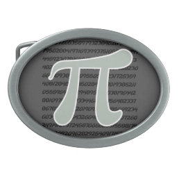 Ash Gray Pi Symbol Oval Belt Buckle