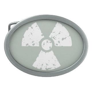 Ash Gray Radioactive Oval Belt Buckle