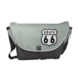 Ash Gray Route 66 Road sign Courier Bags