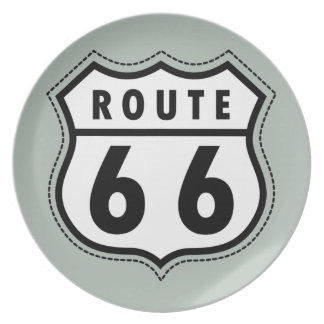 Ash Gray Route 66 Road sign Melamine Plate