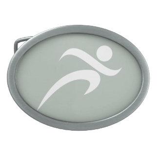 Ash Gray Running Oval Belt Buckle