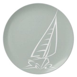 Ash Gray Sailing Party Plate