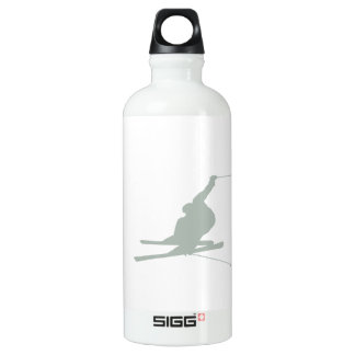 Ash Gray Snow Ski Aluminum Water Bottle