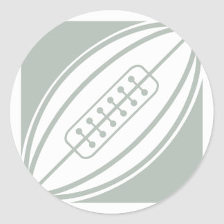 Ash Gray & White Rugby Classic Round Sticker