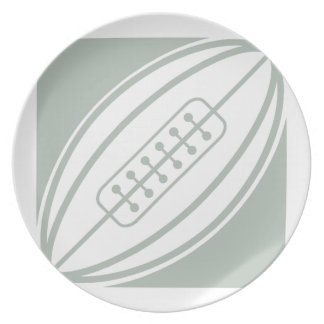 Ash Gray & White Rugby Party Plates