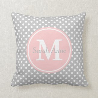 Ash Grey and Baby Pink Polka Dot Monogram Throw Pillow