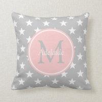 Ash Grey and Baby Pink Stars Monogram Throw Pillow