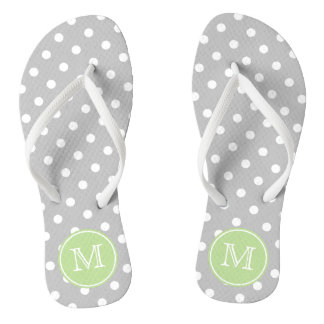 Ash Grey and White Polka Dots with Mint Green Flip Flops