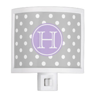 Ash Grey and White Polka Dots With Sweet Lavender Night Light