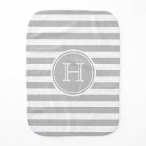 Ash Grey and White Stripe Monogram Burp Cloth