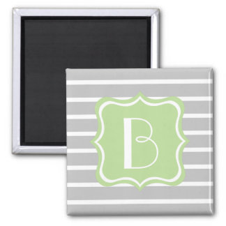 Ash Grey and White Stripe with Mint Green Monogram 2 Inch Square Magnet