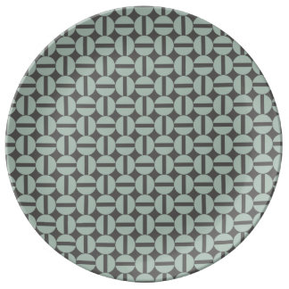 Ash Grey Geometric Abstract Pattern Porcelain Plate