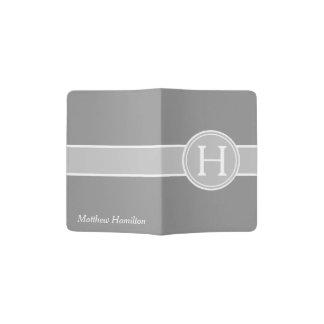 Ash Grey on Dove Grey Stripe Monogram Passport Holder