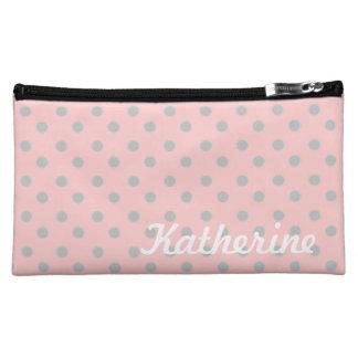 Ash Grey Polka Dots on Baby Pink Cosmetic Bag