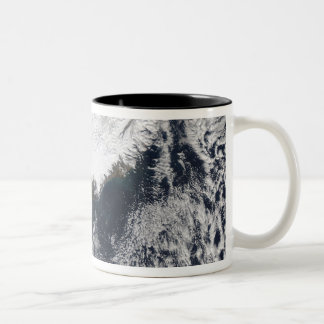 Ash plume from Eyjafjallajokull Volcano, Icelan Two-Tone Coffee Mug