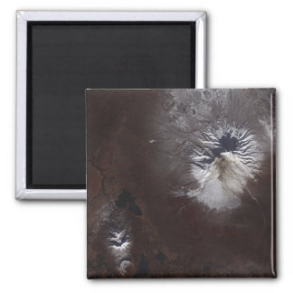 Ash stains on Russia's Shiveluch volcano�s sl 2 Inch Square Magnet