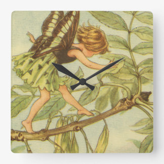 Ash Tree Fairy Walking on Branch Square Wall Clock
