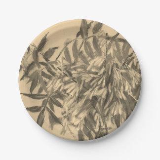 Ash-tree monochrome sepia brown foliage floral art paper plate