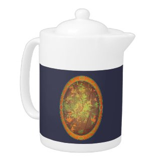 Ash Tree with Blue Background Teapot