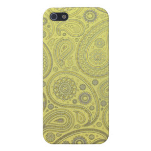 Ash white paisley on yellow background case for iPhone SE/5/5s