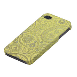 Ash white paisley on yellow background cover for iPhone 4