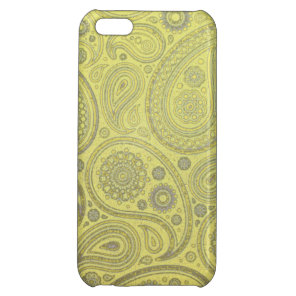 Ash white paisley on yellow background cover for iPhone 5C