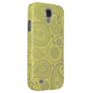 Ash white paisley on yellow background galaxy s4 cover