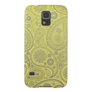 Ash white paisley on yellow background galaxy s5 cover
