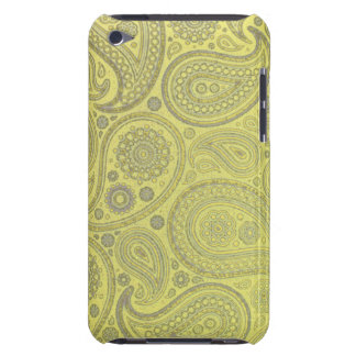 Ash white paisley on yellow background iPod touch case