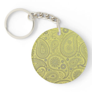 Ash white paisley on yellow background keychain