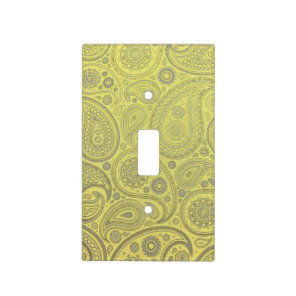 Ash white paisley on yellow background light switch cover
