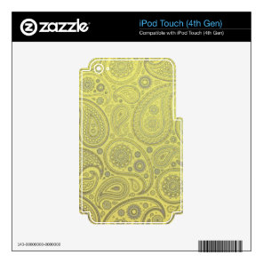 Ash white paisley on yellow background skin for iPod touch 4G