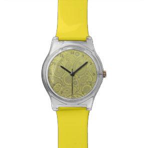 Ash white paisley on yellow background wristwatch